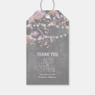 Rustic Garden String Lights Branches Pink Wedding Gift Tags