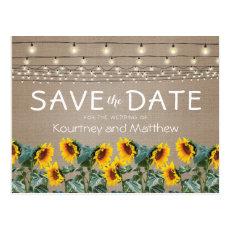 Rustic Garden Sunflowers Lights Save the Date