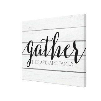 Rustic Gather - Shiplap Wood with Custom Family Canvas Print