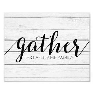Rustic Gather - Shiplap Wood with Custom Family Photo Print