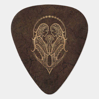 Rustic Gemini Zodiac Sign on Stone Effect Plectrum