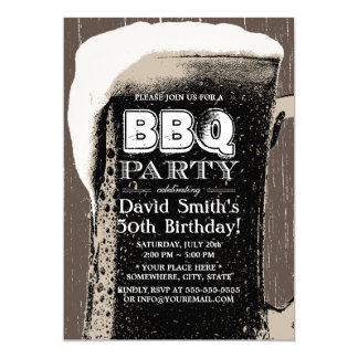 Rustic Giant Beer & BBQ 50th Birthday Party Card