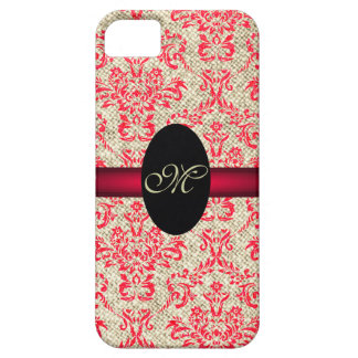 Rustic Girly Vintage Antique Red Damask and Burlap Case For The iPhone 5