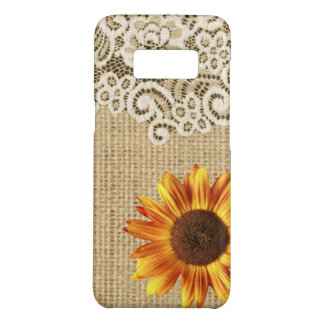 rustic girly western country sunflower burlap lace Case-Mate samsung galaxy s8 case