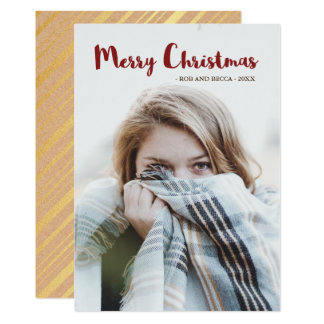Rustic Glam Stripes and Photo Christmas Card