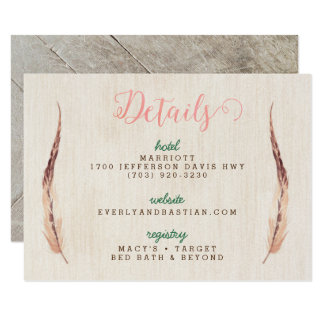 Rustic Glam Wedding Information Cards