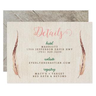 Rustic Glam Wedding Information Cards 9 Cm X 13 Cm Invitation Card
