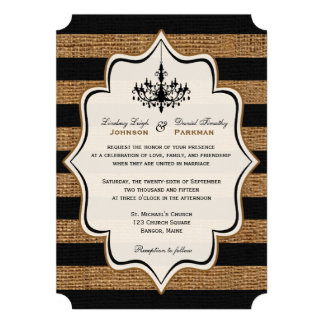 Rustic Glamour, FAUX Burlap Stripes Wedding Invite