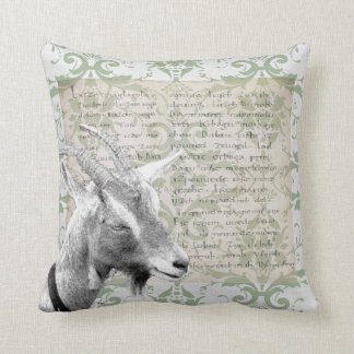 Rustic goat illustration manuscript damask burlap cushion