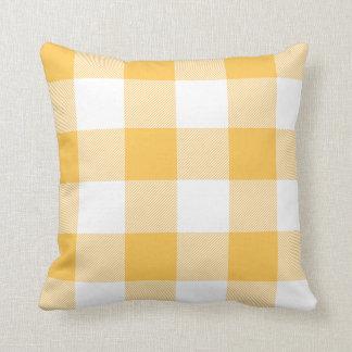 Rustic Gold and White Buffalo Check Plaid Cushion
