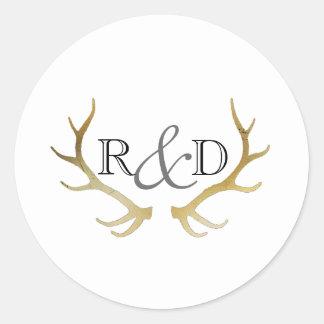 Rustic Gold Antler | Elegant Initial Wedding Classic Round Sticker