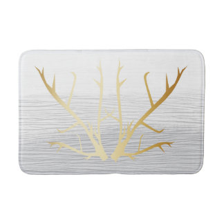 Rustic Gold Antlers on White & Gray Faded Texture Bath Mat