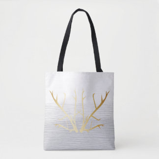 Rustic Gold Antlers on White & Gray Faded Texture Tote Bag