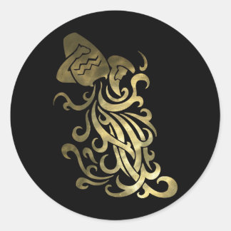 Rustic Gold Aquarius Water Bearer Classic Round Sticker
