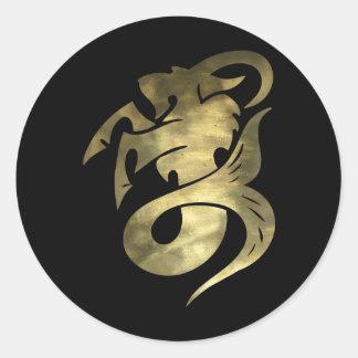 Rustic Gold Capricorn Goat Classic Round Sticker