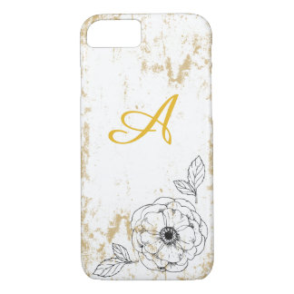 Rustic Gold Floral Monogram Phone Case