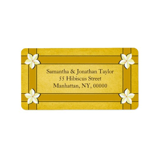 Rustic Gold Floral Return Address Labels Favours