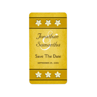 Rustic Gold Floral Save The Date Wine Labels