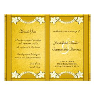 Rustic Gold Floral Wedding Program Template 21.5 Cm X 28 Cm Flyer