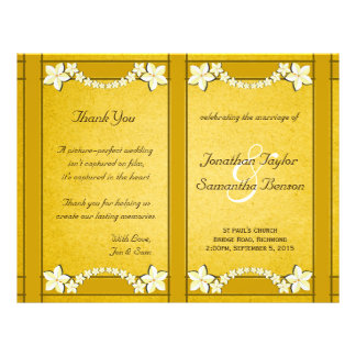 Rustic Gold Floral Wedding Program Template Personalized Flyer