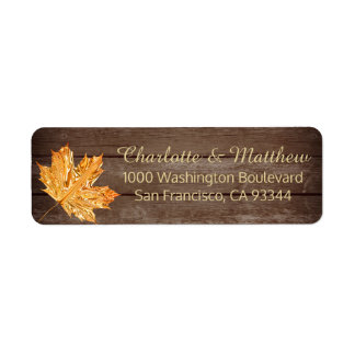 Rustic Gold Orange Leaf Wedding Return Address Return Address Label