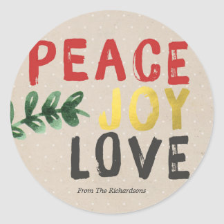Rustic Gold Peace Joy and Love Christmas Sticker