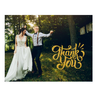 Rustic Gold Sparkle Wedding Thank You Postcards