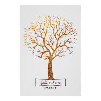 Rustic Gold Tree Thumbprint Wedding Guestbook