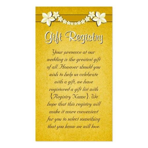 Rustic Gold Wedding Gift Registry Mini Cards Zazzle