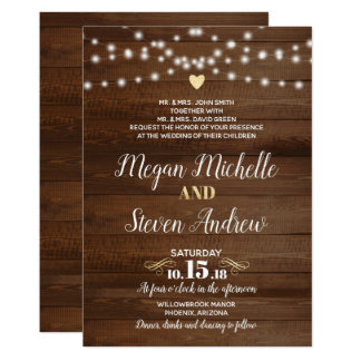Rustic Gold Wedding Invitation