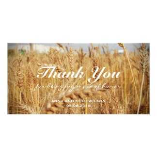 Rustic Golden Barley Bridesmaid Personalized Photo Card
