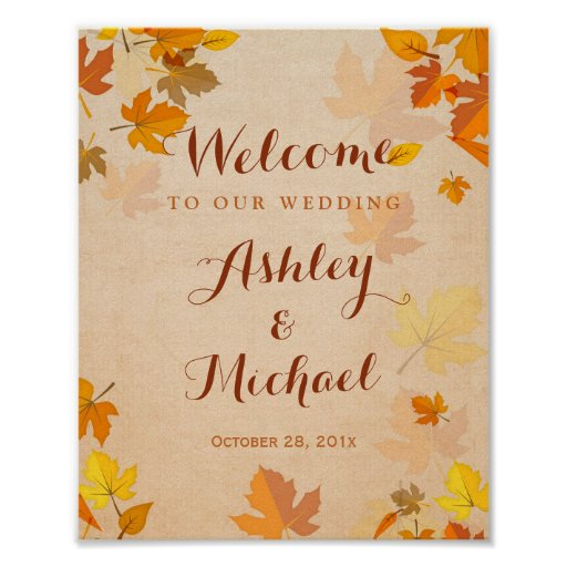 Rustic Golden Maple Leaves Fall Wedding Sign