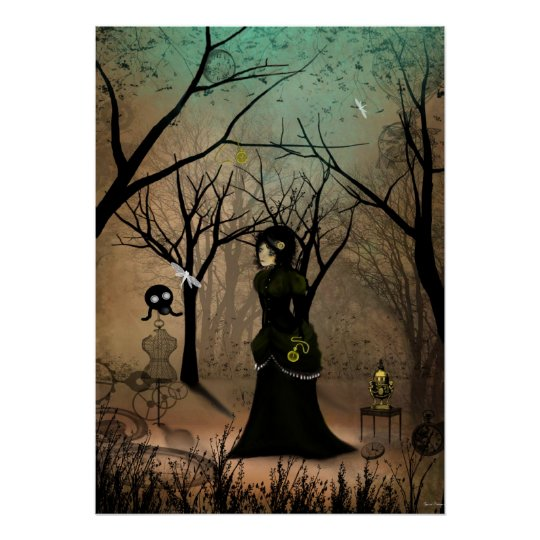 Rustic Goth Steampunk Art Victorian Girl Poster
