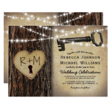 Rustic Gothic Skeleton Key & Tree Heart Wedding Card