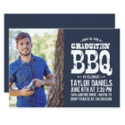 Rustic Graduation Photo BBQ Invite Custom Colour