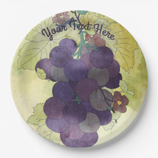 Rustic Grapes Personalized Paper Plate