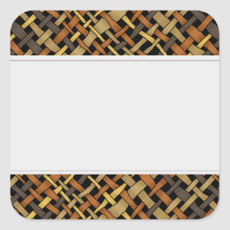 Rustic Graphical Woven Burlap Clean Labels Square Sticker