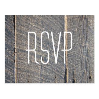 rustic gray barn wood country wedding RSVP Postcard