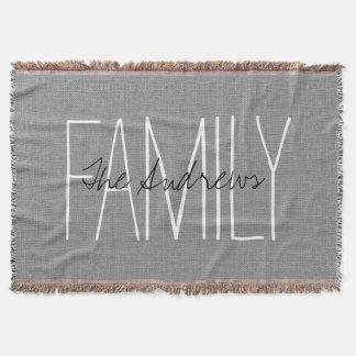 Rustic Gray Chic Family Monogram Throw Blanket