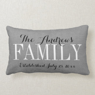 Rustic Gray Family Monogram and Wedding Date Lumbar Cushion