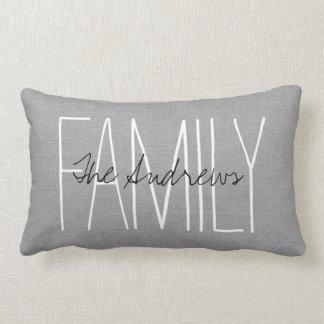 Rustic Gray Family Monogram Throw Pillow