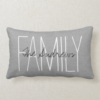Rustic Gray Family Monogram Lumbar Cushion