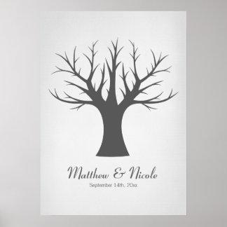 Rustic Gray Fingerprint Tree Wedding Poster