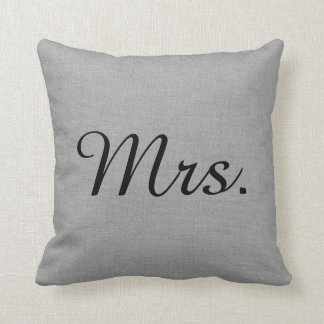 Rustic Gray Mr. and Mrs. Cute Wedding Keepsake Cushion
