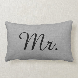 Rustic Gray Mr. and Mrs. Cute Wedding Keepsake Lumbar Cushion