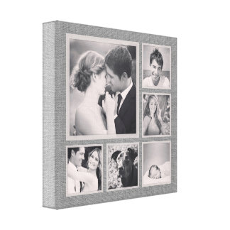 Rustic Gray Photo Collage Canvas Canvas Print