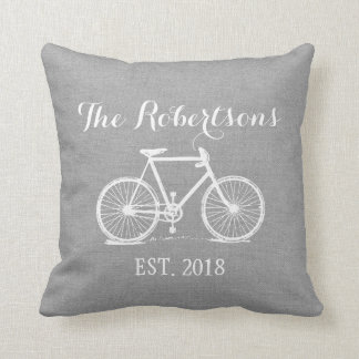 Rustic Gray Vintage Bicycle Wedding Monogram Cushion