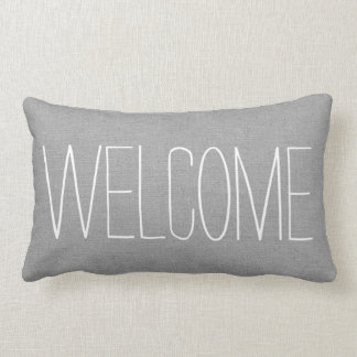 Rustic Gray Welcome Lumbar Cushion
