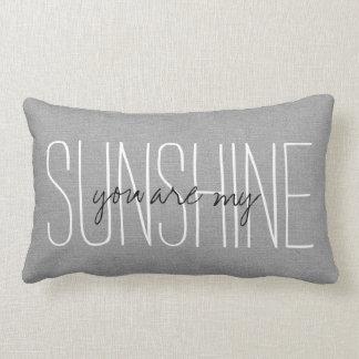 Rustic Gray You Are My Sunshine Lumbar Pillow