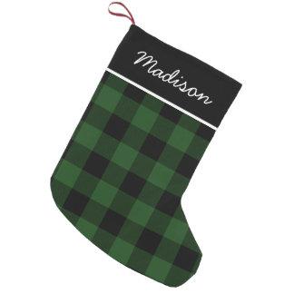 Rustic Green and Black Buffalo Check Monogram Small Christmas Stocking
